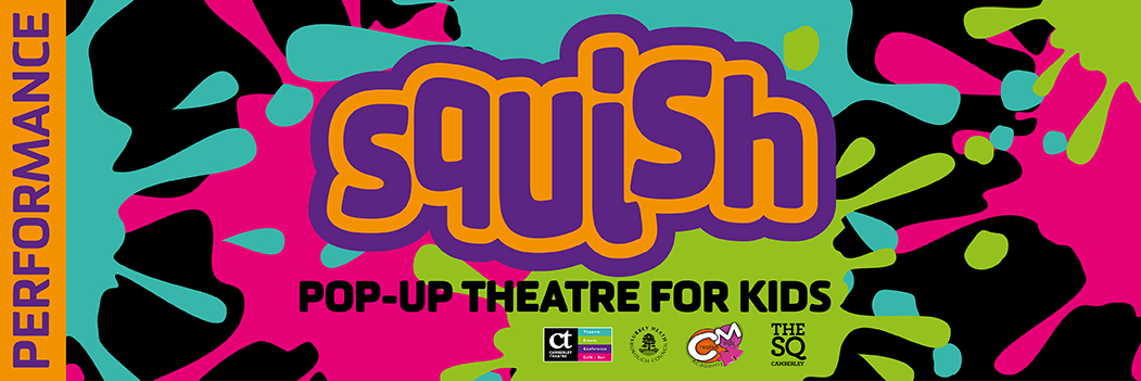 Squish pop up Theatre for kids banner