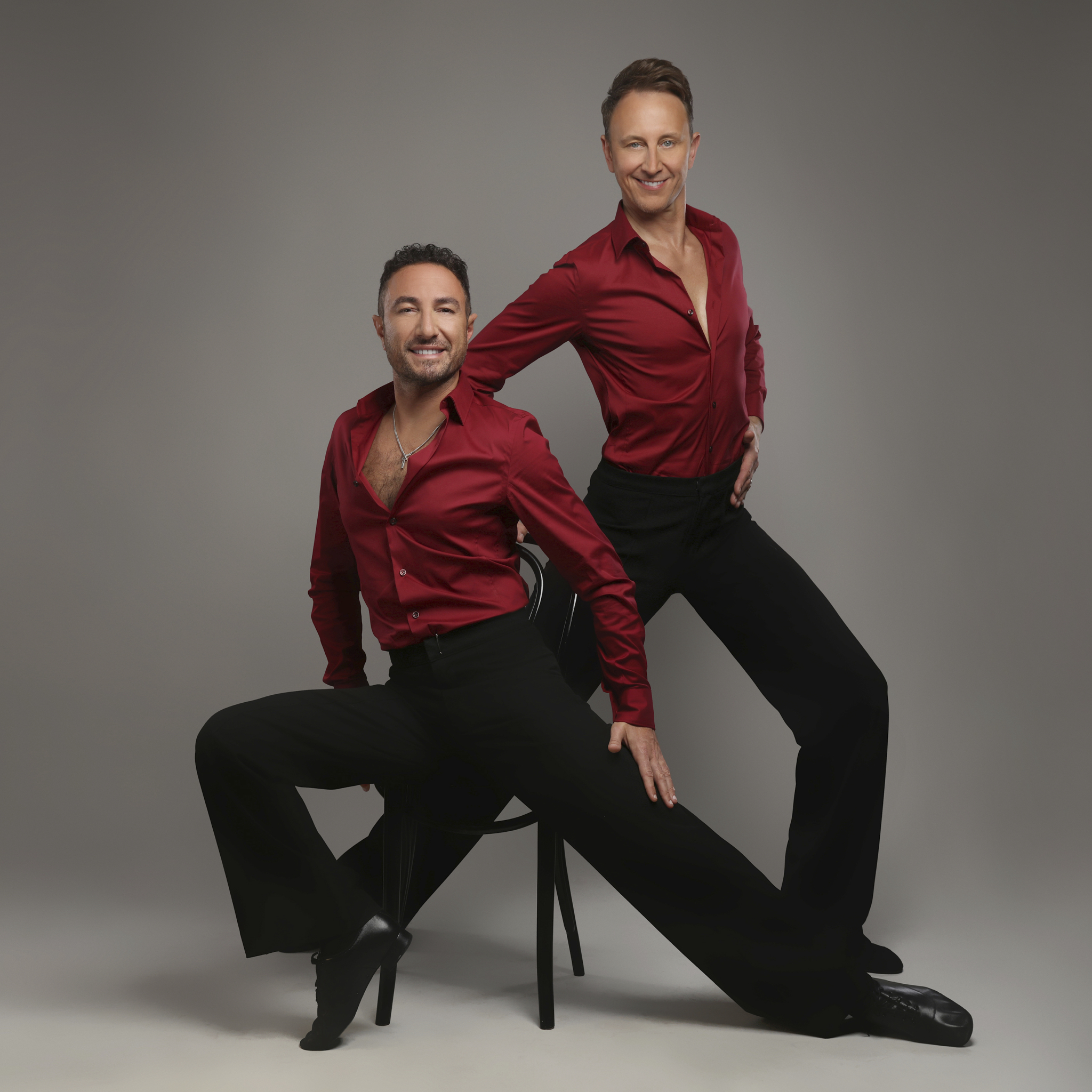 Ian Waite and Vincent Simone posing for the camera