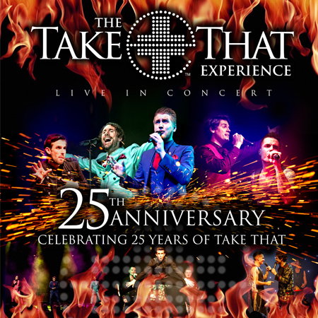 The Take That Experience tribute band performing at a show