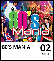 Booking link for 80's Mania on 2 September 2021