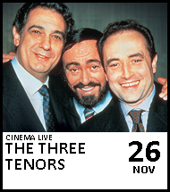 Booking link for The Three Tenors on 26 November 2020