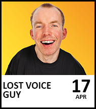 Booking link for Lost Voice Guy on 17 April 2022