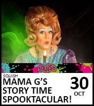 Booking link for Mama G's Story Time Spooktacular on 30 October 2021
