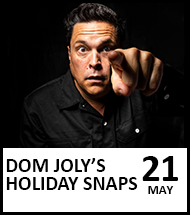 Booking link for Dom Joly's Holiday Snaps on 21 May 2021