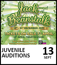 Booking link for Juvenile Auditions on 13th September 2021