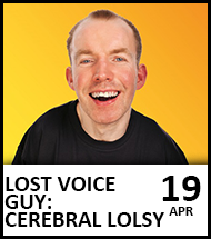 Booking link for Lost Voice Guy on 19 April 2021