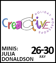 Booking link for Minis Julia Donaldson workshop from 26 July 2021