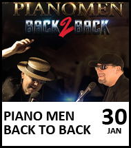 Booking link for Piano Men Back to Back on 30 January 2021