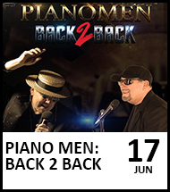 Booking link for Piano Men Back to Back on 17 June 2021