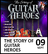 Booking link for The Story of Guitar Heroes on 9 September 2021