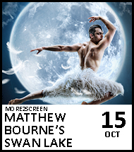 Booking link for Matthew Bourne's Swan Lake on 15 October 2020