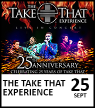 Booking link for The Take That Experience on 25 September 2021